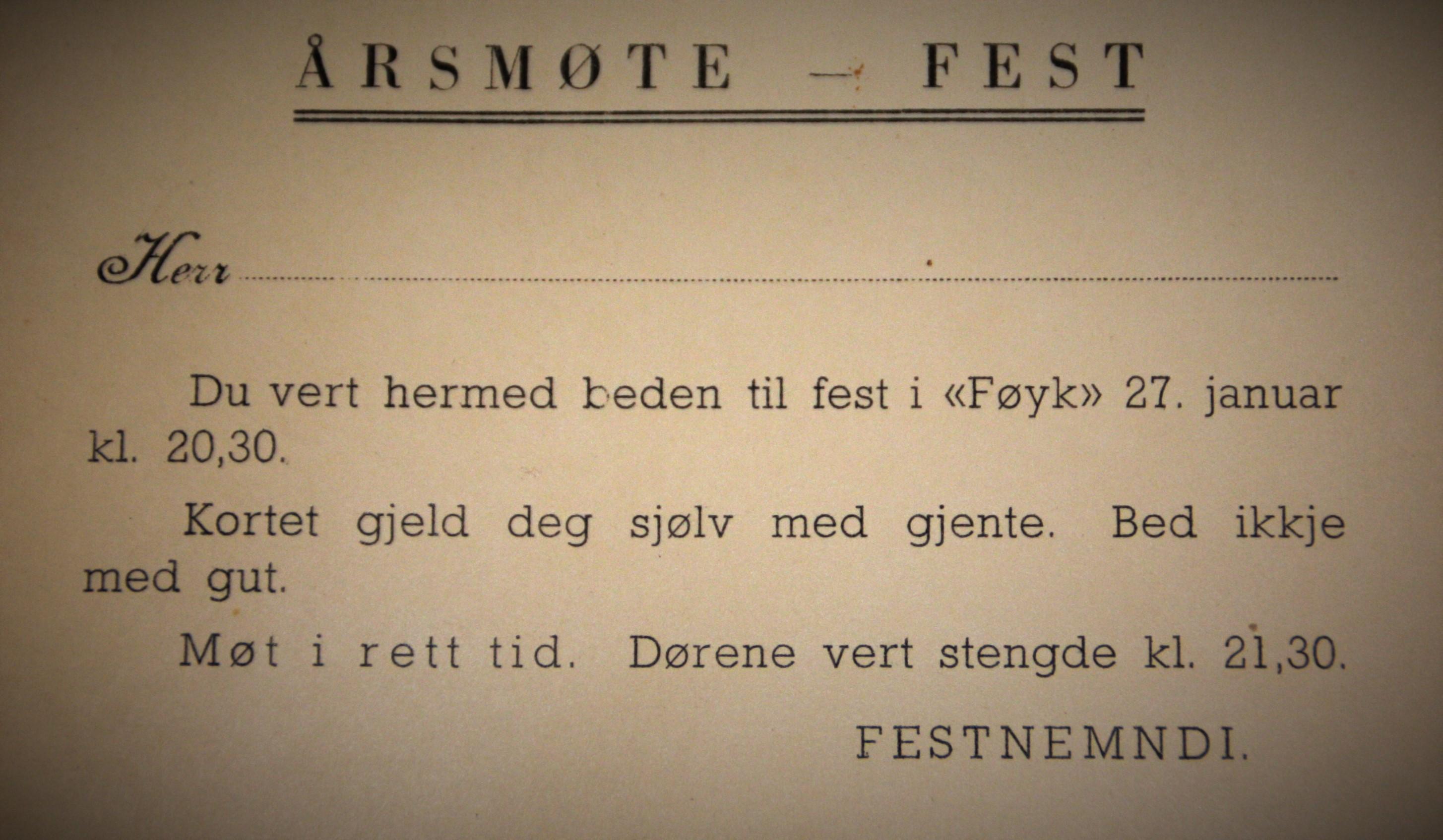 Invitasjon til årsmøtefest i Føyk -  for ein del år sidan.