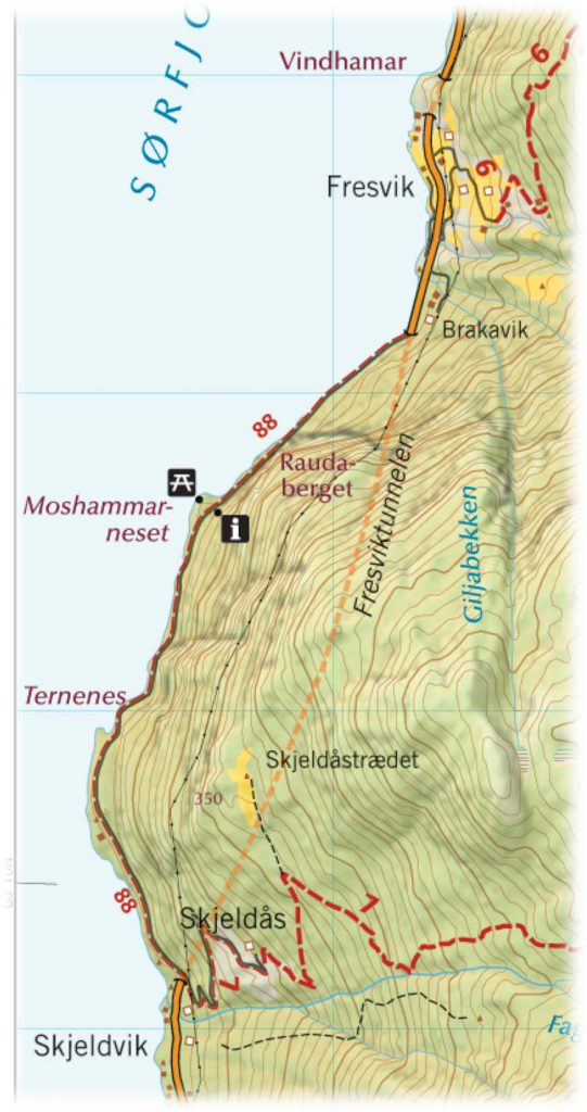 Kartutsnitt Skjeldvik-Fresvik