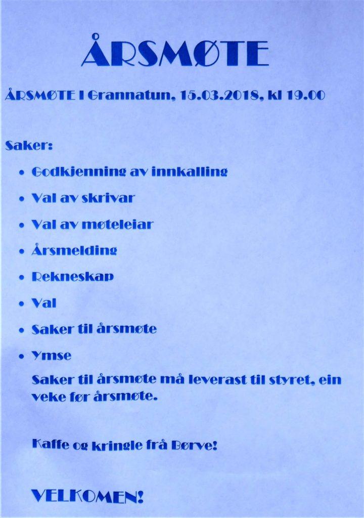 Plakat årsmøte i Grannatun